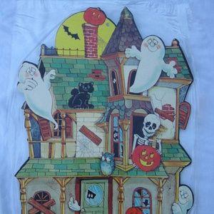 VTG Eureka Halloween Haunted House Die Cut Poster